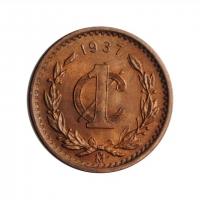 "Мексика 1 сентаво 1937 г. Mo, UNC, ""Мексиканские Соединённые Штаты (1905 - 1969)"""