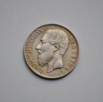Бельгия 1 франк 1886 г. DER BELGEN, XF, 'Король Леопольд II (1865 - 1909)'