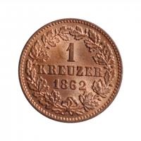 """Нассау 1 крейцер 1862 г., BU, """"Герцог Адольф (1839 - 1866)"""""""