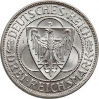 """Веймарская Республика 3 рейхсмарки 1930 г. D, UNC, """"Освобождение Рейнской области (Рейнланда)"""""""