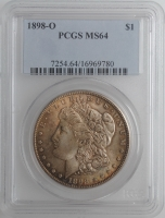 "США 1 доллар 1898 г. O, PCGS MS64, ""Доллар Моргана"""