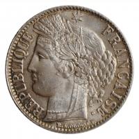 """Франция 1 франк 1888 г. A, BU, """"Третья Республика (1870 - 1941)"""""""
