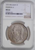 """Бельгия 5 франков 1873 г., NGC MS62, """"Король Леопольд II (1865 - 1909)"""""""