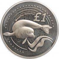 """Кипр 1 фунт 2005, PROOF, """"Дикая природа Кипра - Тюлень-монах"""""""