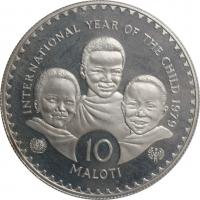 """Лесото 10 малоти 1979 г., PROOF, """"Международный год детей"""""""