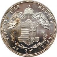"Венгрия 1 форинт 1868 г. KB, PROOF RESTRIKE, ""Император Франц Иосиф (1848 - 1916)"""