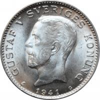 """Швеция 1 крона 1941 г. G, BU, """"Король Густав V (1908 - 1950)"""""""