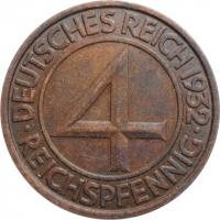 "Германия 4 рейхспфеннига 1932 г. J, UNC, ""Веймарская Hеспублика (Рейхсмарка) (1924 - 1938)"""