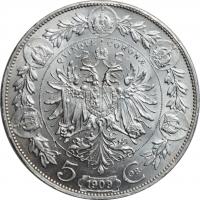 """Австрия 5 крон 1909 г., UNC, """"Император Франц Иосиф I (1848 - 1916)"""""""