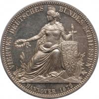 """Ганновер 1 талер 1872 г., BU PL, """"4-й стрелковый фестиваль в Ганновере"""""""