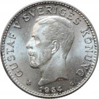 """Швеция 2 кроны 1934 г. G, BU, """"Король Густав V (1908 - 1950)"""""""