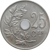 """Бельгия 25 сантимов 1926 г., UNC BELGIË, """"Король Альберт I (1910 - 1934)"""""""