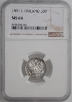 """Финляндия 50 пенни 1891 г. L, NGC MS64, """"Император Александр III (1881 - 1894)"""""""