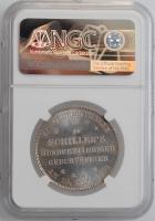 """Франкфурт 1 талер 1859 г., NGC MS64, """"100 лет со дня рождения Фридриха Шиллера"""""""