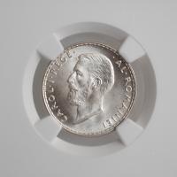 """Румыния 1 лей 1914 г., NGC MS64+, """"Король Кароль I (1881 - 1914)"""""""