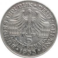 """Германия - ФРГ 5 марок 1955 г., AU, """"300 лет со дня рождения Людвига фон Бадена"""""""