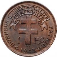 "Камерун 1 франк 1943 г. SA, UNC LIBRE, ""Подопечная территория ООН (1924 - 1948)"""