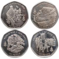 """Гибралтар набор 50 пенсов 2004 г., UNC, """"Операции королевской морской пехоты"""""""