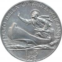 "Ватикан 5 лир 1932 г. UNC, ""Папа Пий XI (1929 - 1938)"""