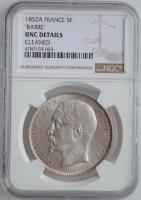 """Франция 5 франков 1852 г. A, NGC UNC Details, """"Император Наполеон III (1852 - 1870)"""""""