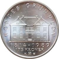 "Норвегия 175 крон 1989 г., BU, ""175 лет Конституции"""