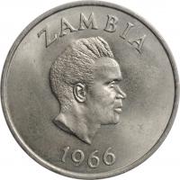 "Замбия 2 шиллинга 1966 г., UNC, ""Президент Кеннет Каунда (1964 - 1991)"""