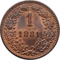 """Австрия 1 крейцер 1881 г., UNC, """"Император Франц Иосиф (1848 - 1916)"""""""