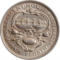 """Австралия 1 флорин 1927 г., XF, """"Открытие здания парламента в Канберре"""""""