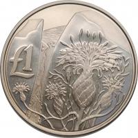 """Кипр 1 фунт 2006, PROOF, """"Дикая природа Кипра - Centaurea Akamantis"""""""