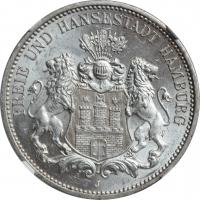 "Гамбург 3 марки 1912 г., NGC MS63, ""Вольный город Гамбург (1871 - 1918)"""