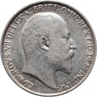 """Великобритания 6 пенсов 1908 г., XF, """"Король Эдуард VII (1902 - 1910)"""""""