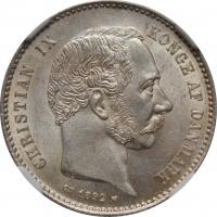 """Дания 1 крона 1892 г. CS, NGC MS63, """"Король Кристиан IX (1873 - 1906)"""""""
