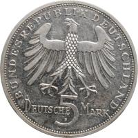 """Германия - ФРГ 5 марок 1955 г., AU, """"150 лет со дня смерти Фридриха Шиллера"""""""