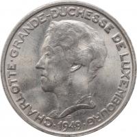 """Люксембург 5 франков 1949 г., UNC, """"Великая герцогиня Шарлотта (1918 - 1964)"""""""