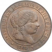 """Испания 5 сентимо 1868 г. 4OM, AU, """"Королева Изабелла II (1864 - 1869)"""" 4-х конечная звезда"""