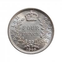 """Британская Гвиана 4 пенса 1945 г., BU, """"Король Георг VI (1937 - 1945)"""""""