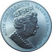"Южная Георгия 2 фунта 2017 г., BU, ""Синий кальмар - Титановая монета"""