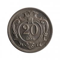 """Австрия 20 геллеров 1908 г., UNC, """"Австро-венгерская крона (1892 - 1918)"""""""