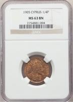 """Кипр 1/4 пиастра 1905 г., NGC MS63 BN, """"Король Эдуард VII (1902 - 1910)"""""""