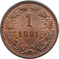 """Австрия 1 крейцер 1881 г., BU, """"Император Франц Иосиф (1848 - 1916)"""""""