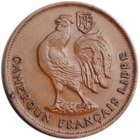 """Камерун 1 франк 1943 г. SA, AU LIBRE, """"Подопечная территория ООН (1924 - 1948)"""""""