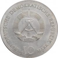"""ГДР 10 марок 1989 г., BU, """"225 лет со дня рождения Иоганна Готфрида Шадова"""""""