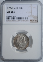 """Гаити 20 сантимов 1895 г., NGC MS62+, """"Республика Гаити (1863 - 1985)"""""""