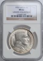 """Латвия 5 латов 1932 г., NGC MS62, """"Первая Республика (1922 - 1940)"""""""