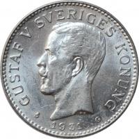 """Швеция 2 кроны 1931 г. G, BU, """"Король Густав V (1908 - 1950)"""""""