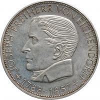 "Германия - ФРГ 5 марок 1957 г., AU, ""100 лет со дня смерти Йозефа фон Эйхендорфа"""