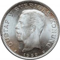 """Швеция 1 крона 1939 г. G, BU, """"Король Густав V (1908 - 1950)"""""""