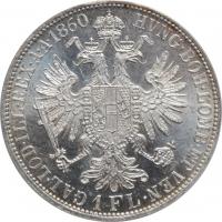 """Австрия 1 флорин 1860 г. A, ANACS MS63, """"Император Франц Иосиф (1848 - 1916)"""""""