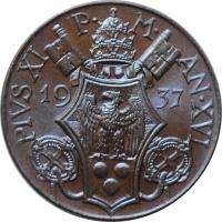 """Ватикан 5 чентезимо 1937 г., BU, """"Папа Пий XI (1929 - 1938)"""""""