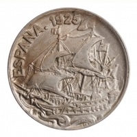 "Испания 25 сентимо 1925 г., UNC, ""Король Альфонсо XIII (1886 - 1931)"""